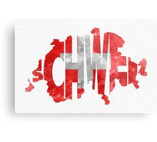 Switzerland Typographic Map Flag Metal Print