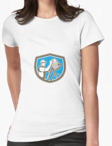 TV Satellite Dish Installer Shield Retro Womens Fitted T-Shirt