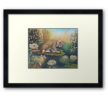 Whimsical Cat Art - Cat and the Prince Charming Frog Framed Print