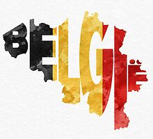 Belgium Typographic Map Flag by A. TW