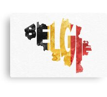 Belgium Typographic Map Flag Metal Print