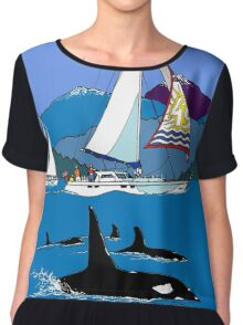 Sailing along the Orcas Chiffon Top