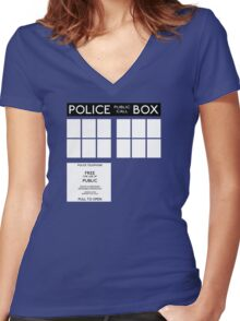 Tardis Doctor Who Women's Fitted V-Neck T-Shirt