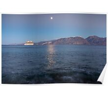 Cruise Ship Departing in the Moonlight Poster