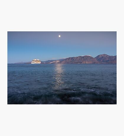 Cruise Ship Departing in the Moonlight Photographic Print