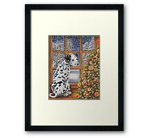 Christmas Dog Art - Dalmatian Puppy by the Christmas Tree Framed Print