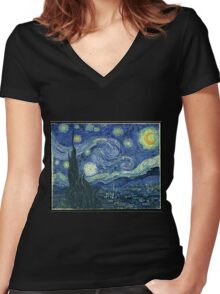Vincent Van Gogh - The Starry night  Women's Fitted V-Neck T-Shirt