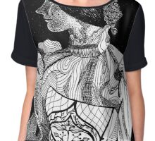Victorian Lady Pen and Ink Sketch Chiffon Top