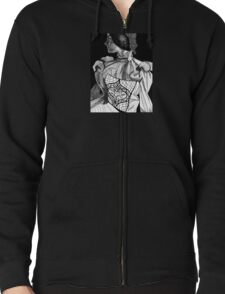 Victorian Lady Pen and Ink Sketch Zipped Hoodie