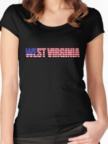 West Virginia United States of America Flag Women's Fitted Scoop T-Shirt