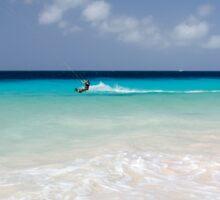 Kite Surfing, Atlantis Beach, Bonaire Sticker