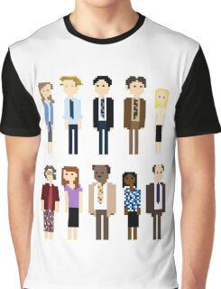 Office Pixel Cast - 10 - Vertical Pattern Graphic T-Shirt