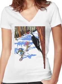 Woodpecker in the tree Women's Fitted V-Neck T-Shirt