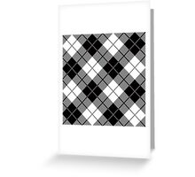 Plaid,tartan,black,grey,white,modern,trendy,traditional,contemporary pattern Greeting Card