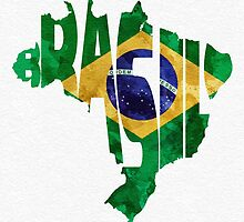 Brazil Typographic Map Flag by A. TW