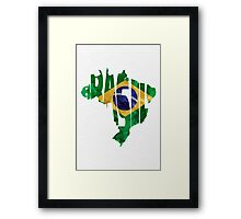 Brazil Typographic Map Flag Framed Print