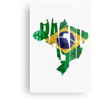 Brazil Typographic Map Flag Metal Print