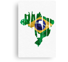 Brazil Typographic Map Flag Canvas Print