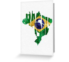 Brazil Typographic Map Flag Greeting Card