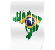 Brazil Typographic Map Flag Poster
