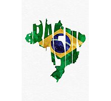 Brazil Typographic Map Flag Photographic Print