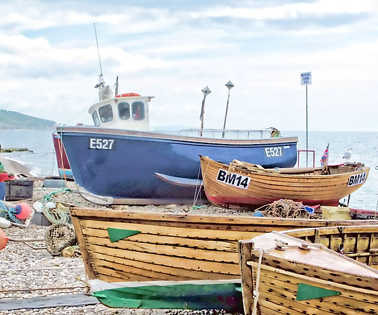 Boats On The Beach   Devon Uk by lynn carter