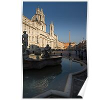 Roman Morning - Shadow and Light on Piazza Navona, Rome, Italy Poster