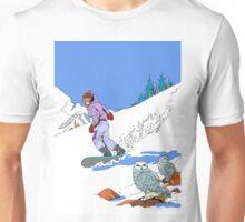 Snowboarding past Owls Unisex T-Shirt