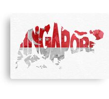 Singapore Typographic Map Flag Metal Print