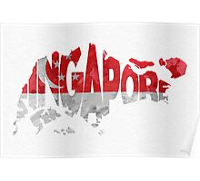 Singapore Typographic Map Flag Poster