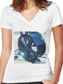 powder coated Wet Black Mustang wheel  Women's Fitted V-Neck T-Shirt