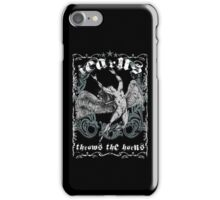 ICARUS THROWS THE HORNS - extreme distress t-shirt BLACK iPhone Case/Skin