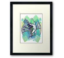 ICARUS THROWS THE HORNS - light watercolor paint splotches NEW DESIGN Framed Print