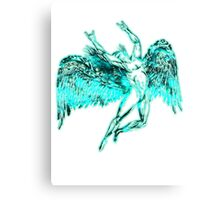 ICARUS THROWS THE HORNS - super bright neon Canvas Print