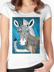 Portrait Of The Artist As A Young Zebra Women's Fitted Scoop T-Shirt