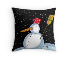 Lonely snowman Throw Pillow