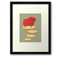 Yak and Stepping Stones Framed Print
