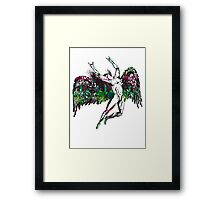 ICARUS THROWS THE HORNS - northern lights Framed Print
