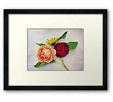 Sunflower and Roses Watercolor Framed Print