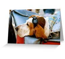Lazy Dog with Aviator Cap and Goggles Greeting Card