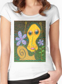 Portrait of the Artist as a Young Snail Women's Fitted Scoop T-Shirt