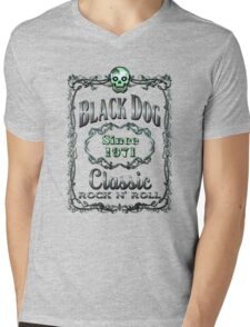 BOTTLE LABEL - black dog Mens V-Neck T-Shirt