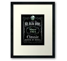 BOTTLE LABEL - black dog Framed Print