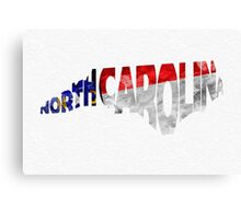 North Carolina Typographic Map Flag Canvas Print