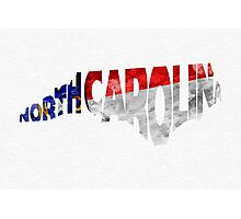 North Carolina Typographic Map Flag Photographic Print