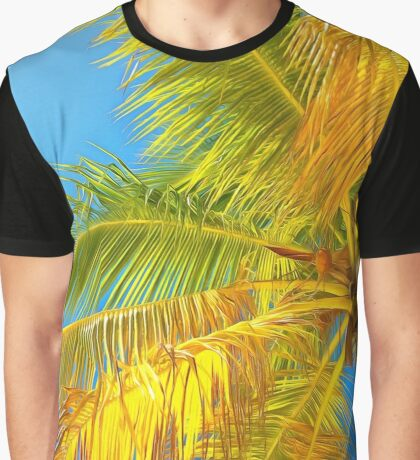 Palm leaves on a background of blue sky Graphic T-Shirt