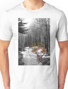 Snowy Forest Path Unisex T-Shirt