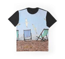 Landscape with chairs and seagulls against the sea Graphic T-Shirt
