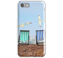 Landscape with chairs and seagulls against the sea iPhone Case/Skin
