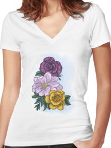 Flora Women's Fitted V-Neck T-Shirt